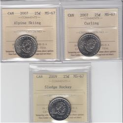 25-cent 2007 curling, 2007 alpine skiing & 2009 sledge hockey ICCS MS67. All coins tied for finest k