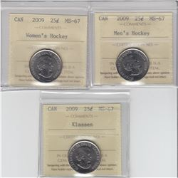 25-cent 2009 Men's Hky, 2009 Women's Hky & 2009 Klassen ICCS MS67. All coins tied for finest known.