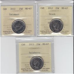 25-cent 2012 Brock, 2012 Tecumseh & 2013 Salaberry ICCS MS67.  All coins tied for finest known. 3pcs