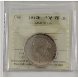 50-cent 1872H ICCS Certified VF30. A Solid grade Victorian coin with hints of mint luster in margins