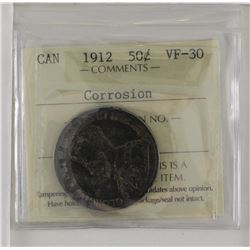 50-cent 1912 ICCS Certified VF30 'corrosion'. This is a dark grey/black coin, reverse is lighter wit