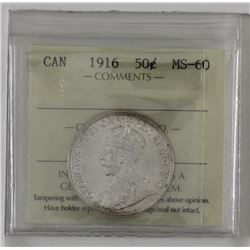 50-cent 1916 ICCS Certified MS60. A Bright lustrous coin with a strong reverse.