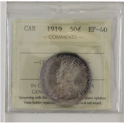 50-cent 1919 ICCS EF40. A lightly toned coin with underlying luster.