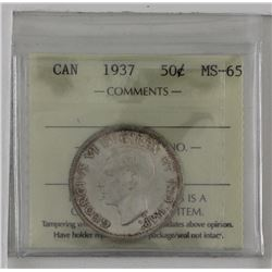 50-cent 1937 ICCS MS65. Light toning, tied for the finest known