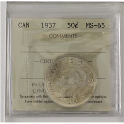 50-cent 1937 ICCS MS65. White with light toning.