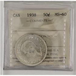50-cent 1938 ICCS Certified MS60. A Bright white coin with exceptional reverse.