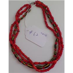 3 Strand Trade Beads Necklace