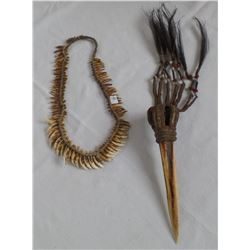 Asmat Bore Dagger and Asmat Dog's Teeth Necklace