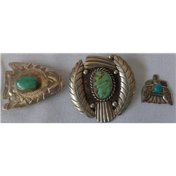 Three Miscellaneous Sterling Silver Pins