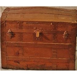 """Antique dome top trunk painted, 24"""" X 30"""" X 19""""."""