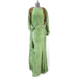 Vintage womans dress with metallic gold