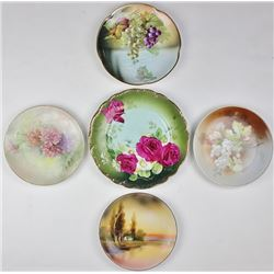 Collection of 5 hand painted plates.