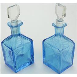 Pair fine matching Art Deco perfumes in blue cut