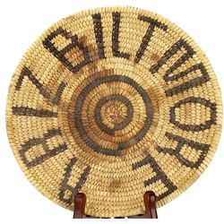 Papago coiled basketry tray made for the Arizona