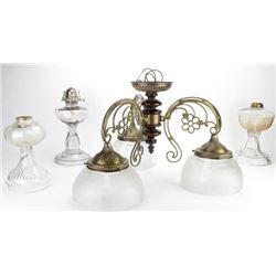 Collection of 4 includes 3 antique kerosene