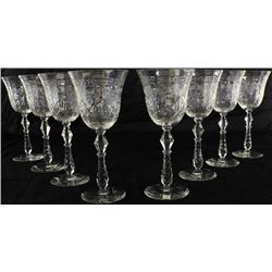 Fine set of 8 stemware glasses with hand cut