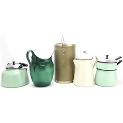 Collection of 5 includes enamel 2 pc steamer