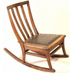 Antique oak childs rocking chair with original