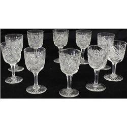 Set of 10 cut glass stemware.