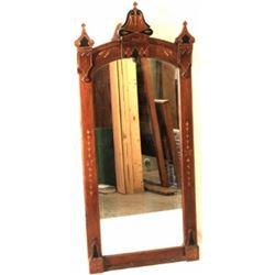 """Victorian walnut mirror, 24"""" X 53""""."""