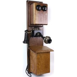 Large oak wall telephone shows very good