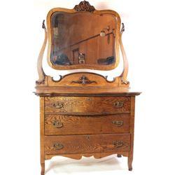 Oak triple serpentine dresser with 3 drawers,