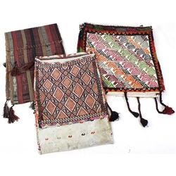 Collection of 3 hand woven saddle bags