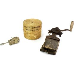 Collection of 3 includes antique rope maker,
