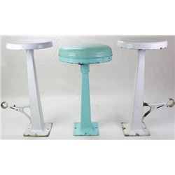 Collection of 3 antique soda fountain stools,