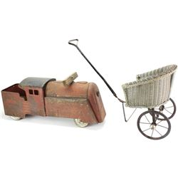 Collection of 2 includes antique wicker doll