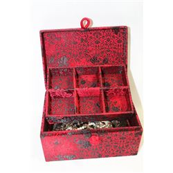 RED AND BLACK SILK JEWLLERY BOX WITH CONTENTS