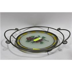 WROUGHT IRON AND GLASS FRUIT TRAY CIRCA 1971