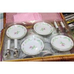 LITTLE GIRLS PORCLAIN TEA SET IN A WICKER CASE
