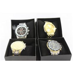 NEW MENS STAINLESS STEEL WATCH X 4