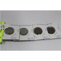 FOUR  GERMAN COINS, 1874, 1909, 1911, 1924