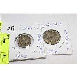 PAIR OF JEWISH NAZI GHETTO COINS, 1942, 1943