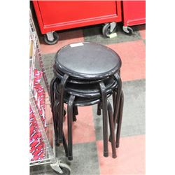 STACK OF 4 SMALL STOOLS