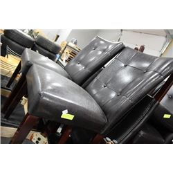 SET OF 4 BLACK LEATHERETTE CHAIRS