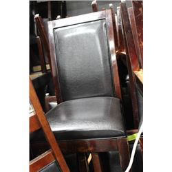 SET OF 4 BLACK WOOD AND LEATHERETTE CHAIRS