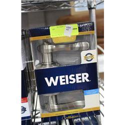 WEISER ST STEEL BED AND BATH HANDLE SET
