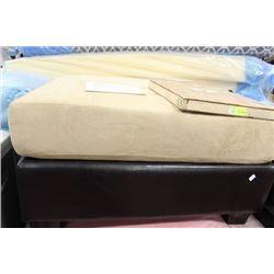 LARGE 2 TONE BEIGE AND MICROFIBRE OTTOMAN