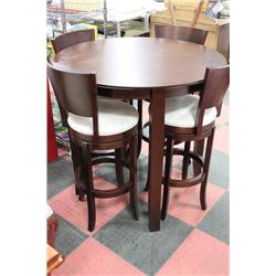 BROWN WOOD BAR TABLE WITH 4 WOOD AND FABRIC SWIVEL