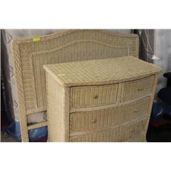 WICKER HEADBOARD W/4 DRAWER WICKER DRESSER