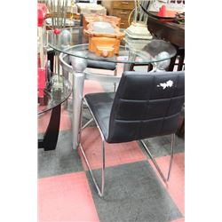 METAL AND GLASS TABLE W 2 BLACK LEATHERETTE