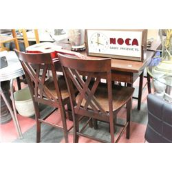 WOOD BAR TABLE W LEAF AND 4 STOOLS