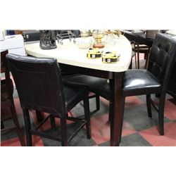 TRIANGULAR BAR TABLE W 3 BLACK LEATHERETTE STOOLS