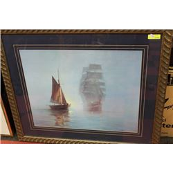 LARGE FRAMED SHIP PICTURE