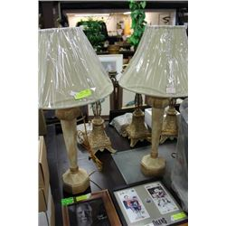 PAIR OF TALL DESIGNER LAMPS, CREME AND GOLD