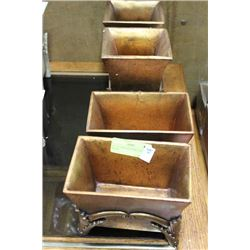 SET OF 4 BRONZE LOOK PLANTER BOXES