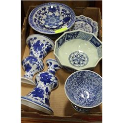 TRAY OF BLUE/WHITE DEC. DISHES AND ACCY
